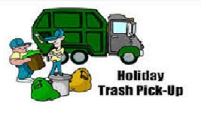 holiday trash pickup with trash truck and men