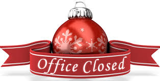 words office closed with a christmas ornament and ribbon