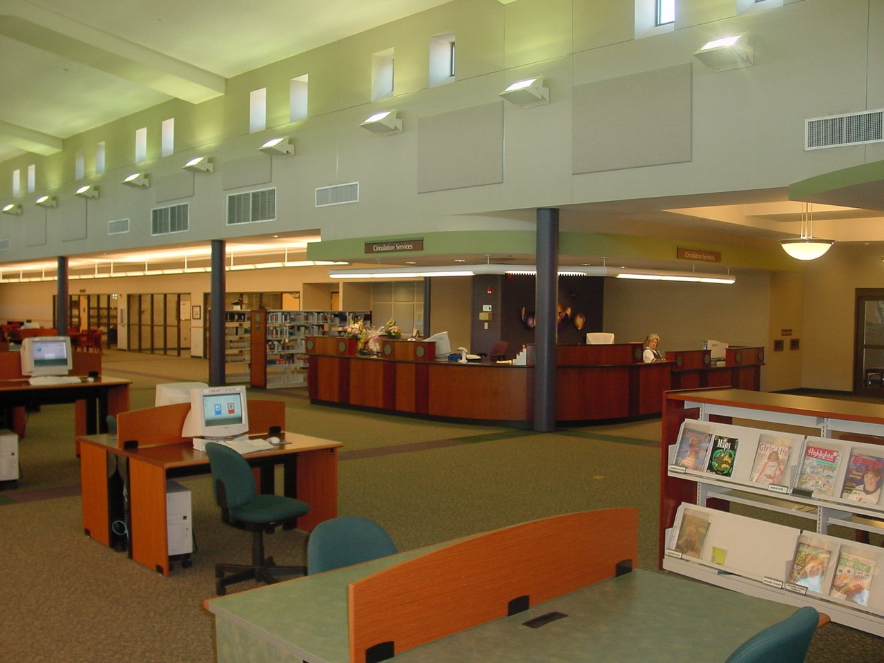 A view of the circulation desk from the northwest